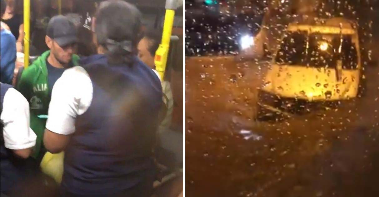 Homem enfrenta chuva para entregar casaco namorada presa ônibus ilhado