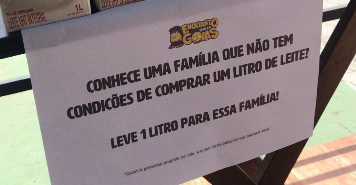 Empório oferece caixas de leite para famílias carentes em GO: 'Só pegar e levar' 1