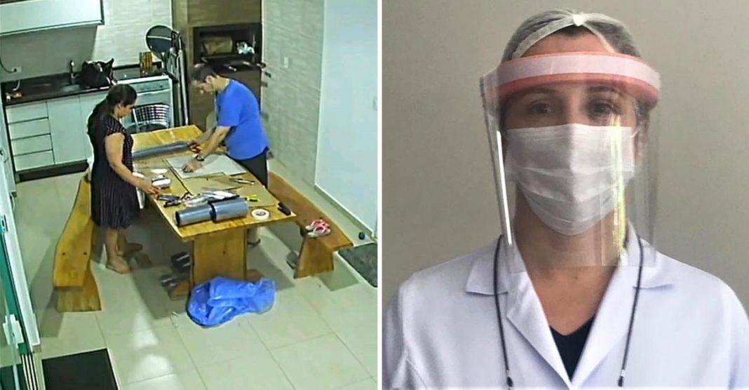 Na cozinha de casa, casal cria máscaras de proteção extra para profissionais de saúde no PR 1