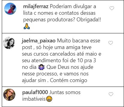 reprodução do instagram da Rede Mulher Empreendedora com comentários das seguidoras