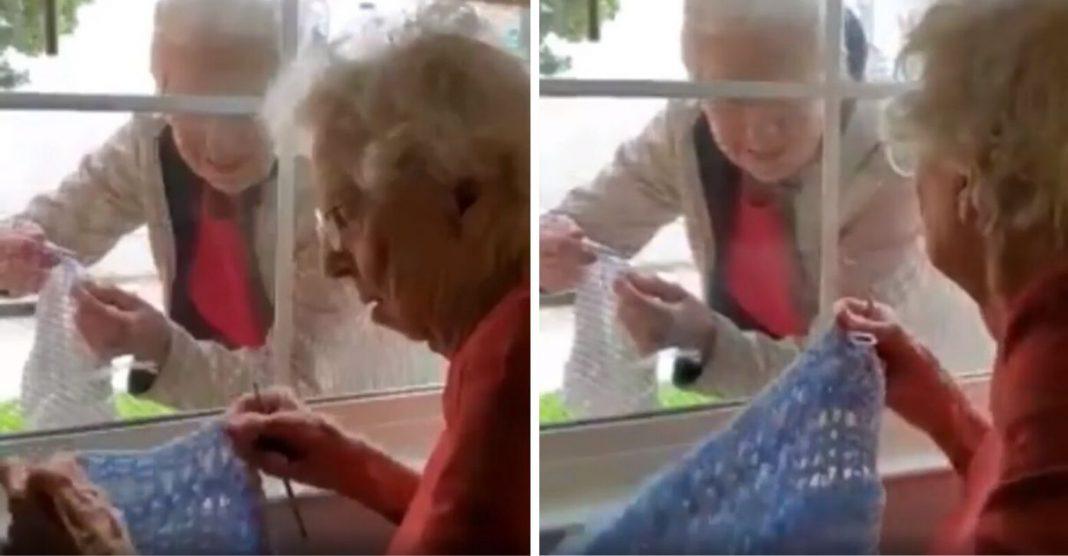 idosas fazem tricô separadas por janela vídeo