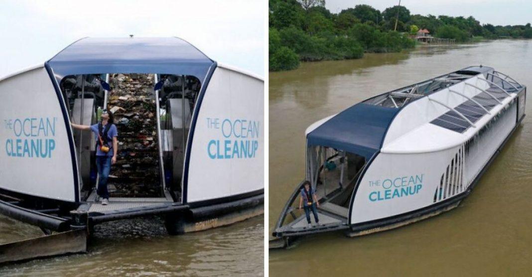 jovem boyan slat ocean cleanup barca limpa rios
