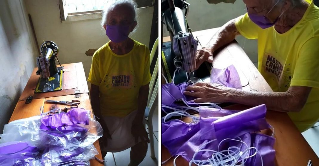 idosa confecciona máscaras de proteção coronavírus maranhão