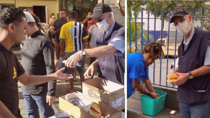 padre júlio lancelotti distribuindo comida moradores de rua pandemia coronavírus são paulo