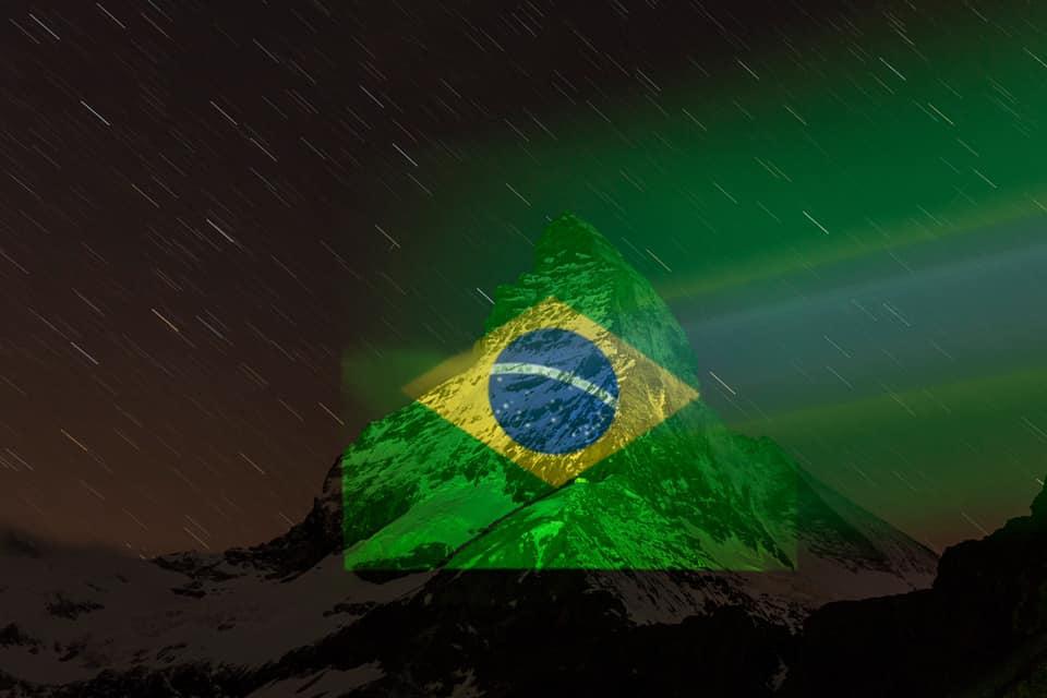 bandeira suíça projeção bandeira brasil