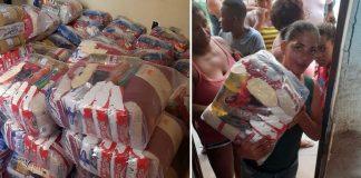 Feiras e pessoa recebendo doação feita por ex-patrão depois que desempregada pediu ajuda e ele contribuiu com toda a comunidade