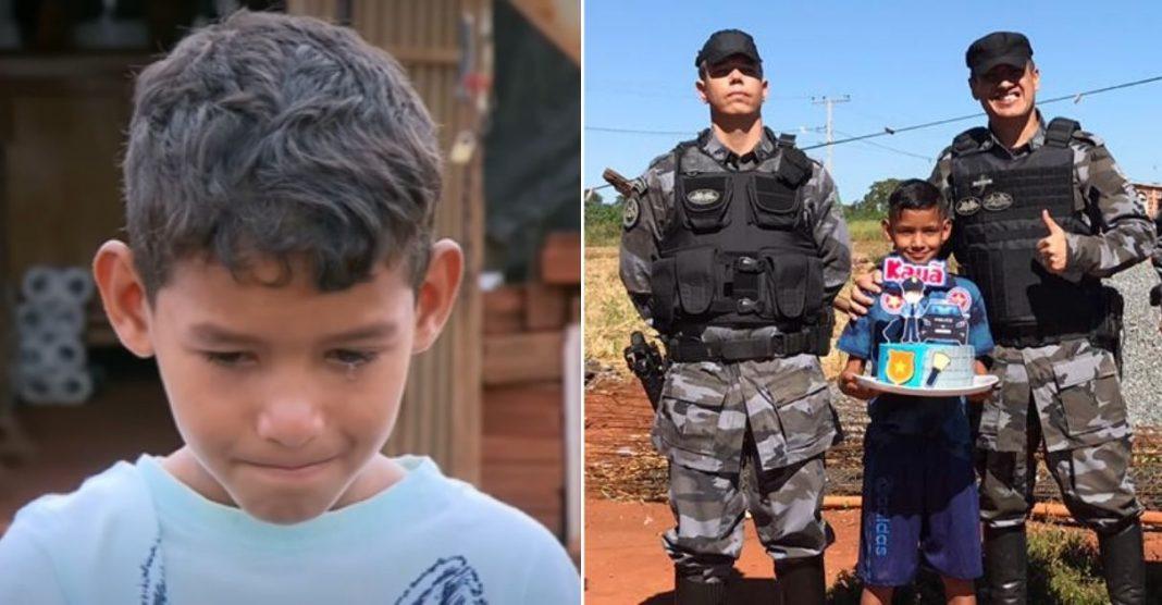 Policiais fazem surpresa de aniversário para menino que trabalhava para sustentar a casa 2