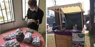 Empreendedor que vende máscaras para ajudar costureiras e barraca onde ele vende