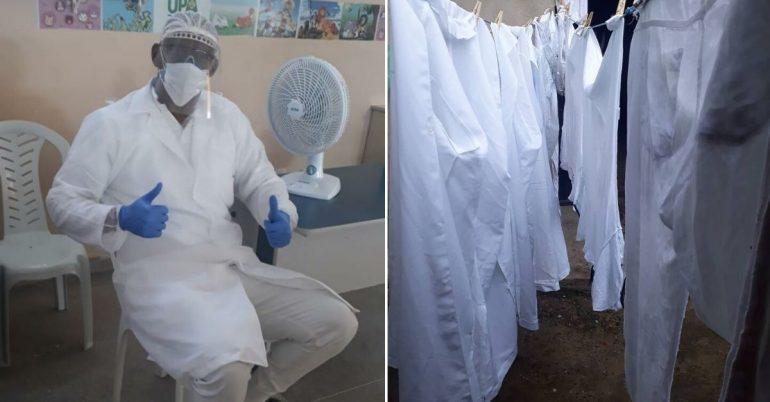 Técnico de enfermagem e vestimentas de trabalho lavadas na unidade onde ele trabalha