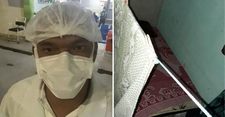 Técnico de enfermagem de máscara e cama improvisada que ele fez no terraço de casa para não ter contato com a mãe