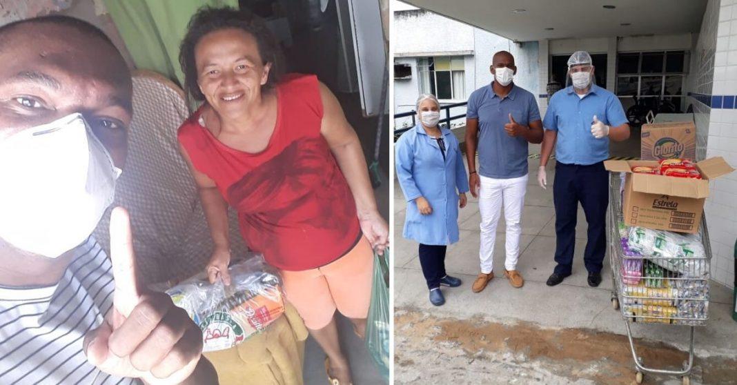 Técnico de enfermagem que dormia no terraço de casa para proteger mãe entregando cestas básicas a pessoas carentes