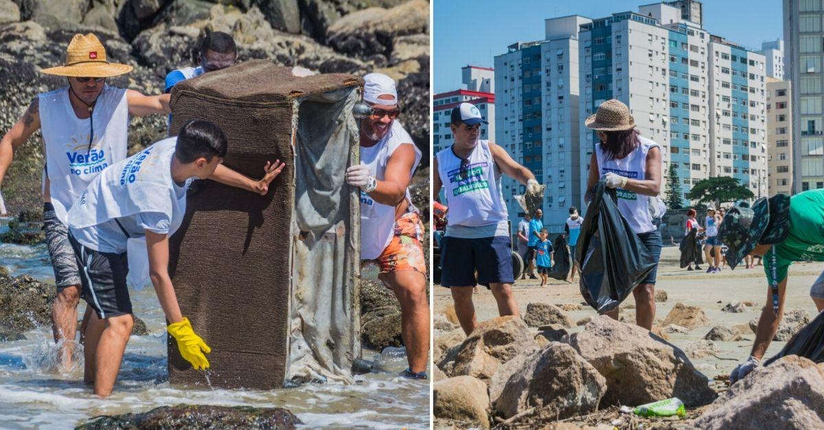 Homens retirando geladeira velha de dentro do mar e pessoas recolhendo lixo na praia