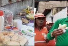 Moradores comunidade carente servem café da manhã garis