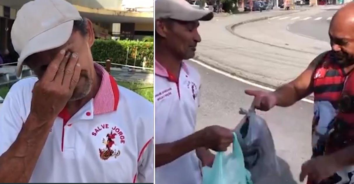desempregado recebe doações comida desconhecido posto receita federal