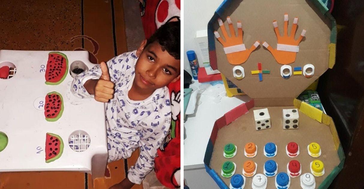 mãe cria jogos pedagógicos filho autista caixa papelão e pizza