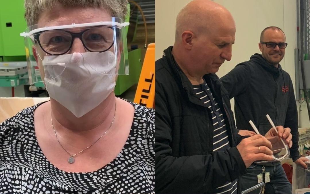 lego produção viseiras proteção profissionais de saúde
