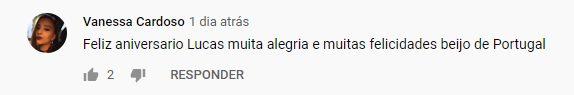 comentário de fã no Youtube durante live do Lucas Lucco