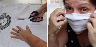 mulher fazendo máscara de proteção com camiseta velha sem costura