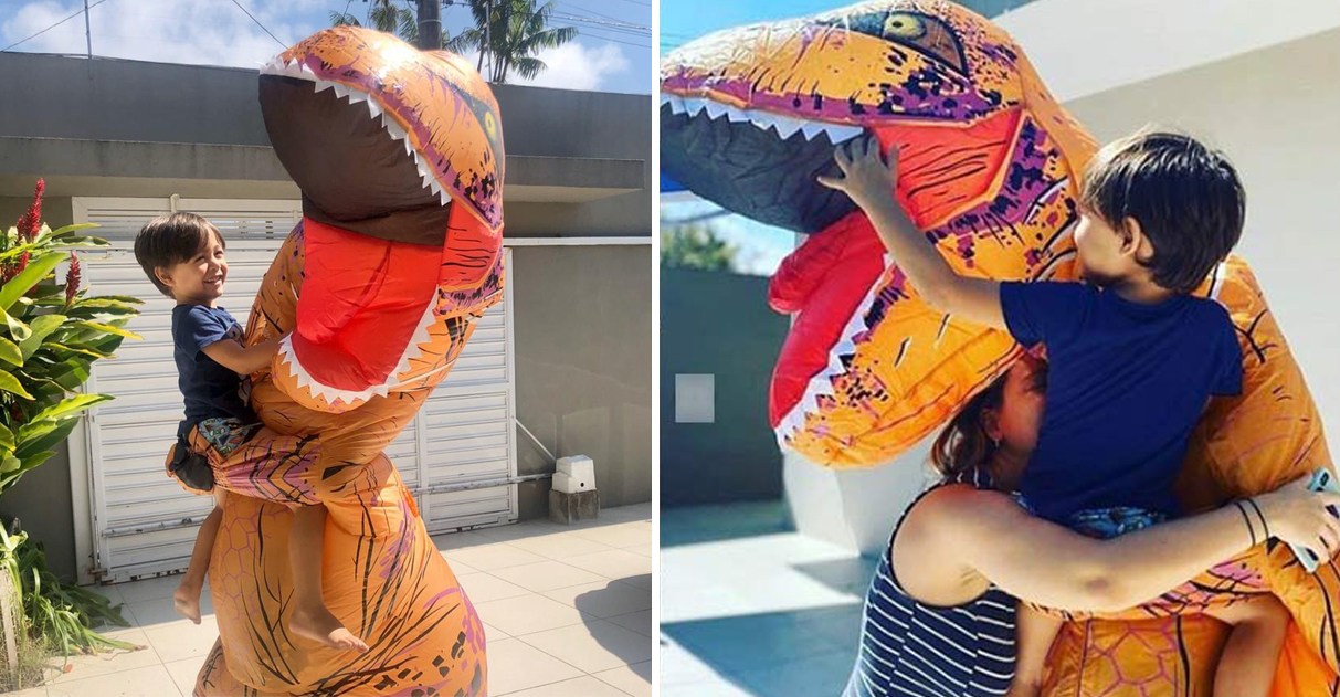 Médico se fantasia de dinossauro para abraçar filho após 36 dias e vídeo viraliza 2