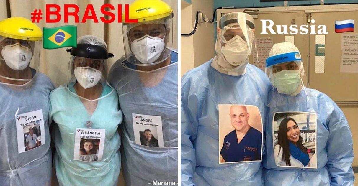 Médicos do mundo todo colam fotos sorrindo em seus crachás para animar pacientes 1