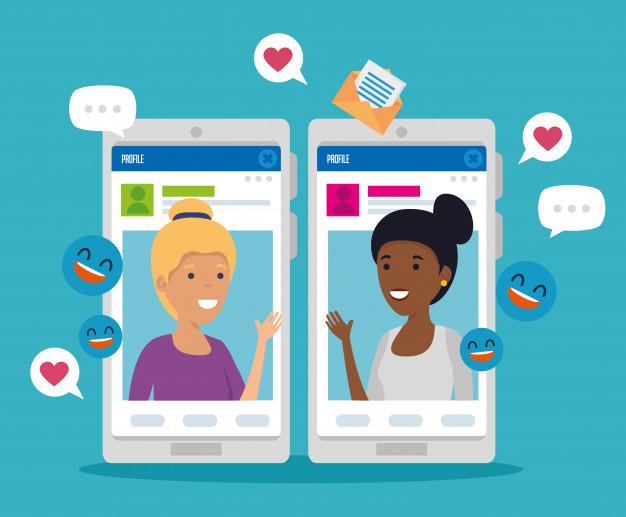 meninas-com-mensagens-de-perfil-social-e-smartphone