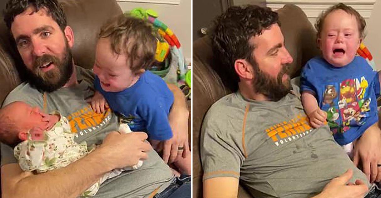 Menino com síndrome de Down chora quando a irmã é tirada de perto dele 1