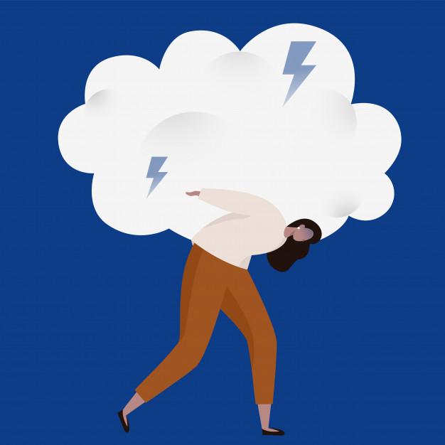 mulher-arrastando-uma-pesada-nuvem-tempestuosa-com-relampagos-emocoes-ruins-e-ilustracao-do-conceito-de-ansiedade