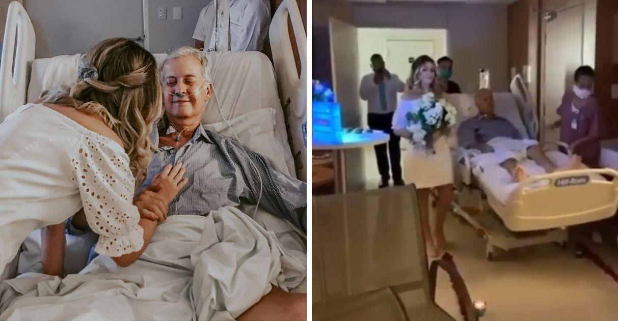 noiva casamento hospital pai câncer participar