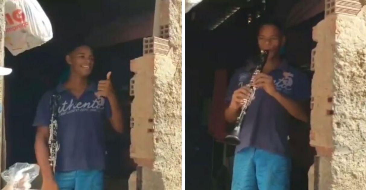 No clarinete, jovem recebe doadores de cestas básicas com 'Anunciação', de Alceu Valença 1