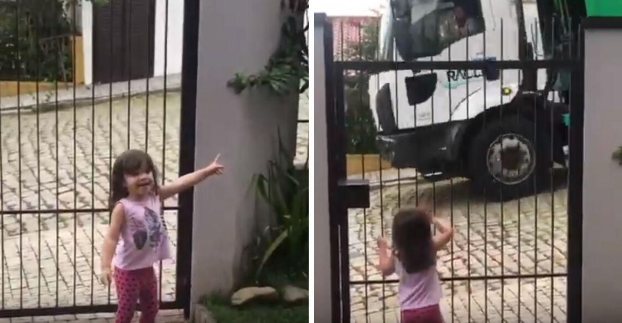 Menina apaixonada caminhões de lixo vídeo