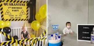 Mães comemoram aniversário seus bebês com festa 'temática' sobre Covid-19