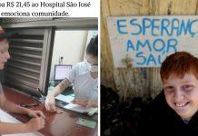 Criança vende latinhas por uma semana doa dinheiro para hospital