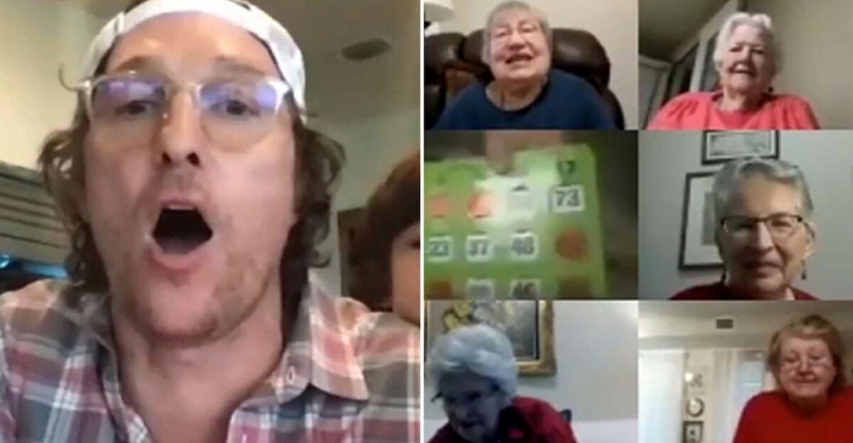 Matthew McConaughey bingo virtual idosos asilo quarentena