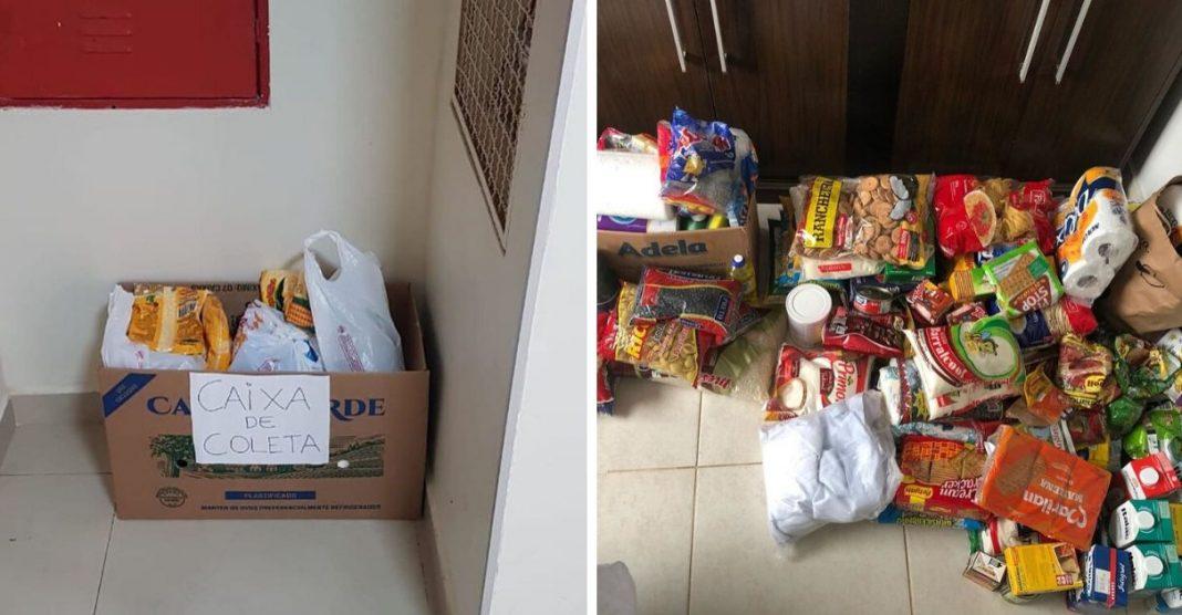 Bilhete inspira moradores de prédio a encher caixa com alimentos para famílias carentes 1