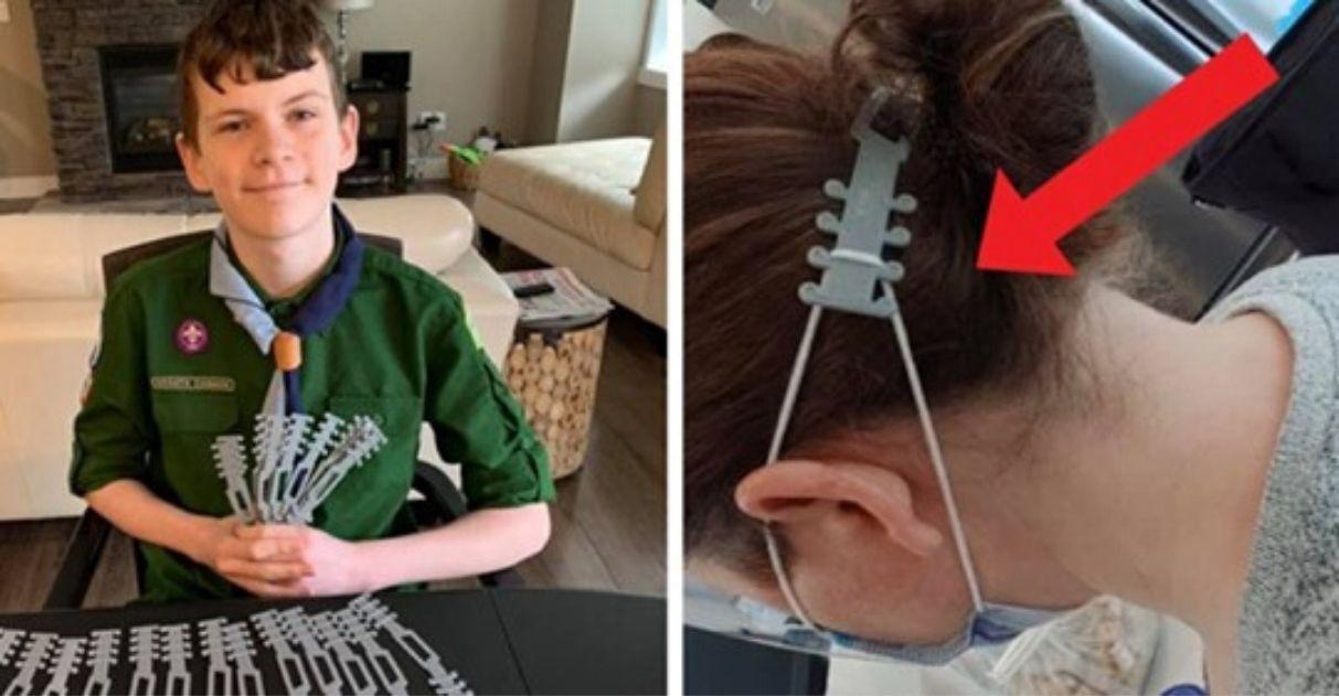 Menino cria acessório protege orelhas alivia dor física profissionais saúde
