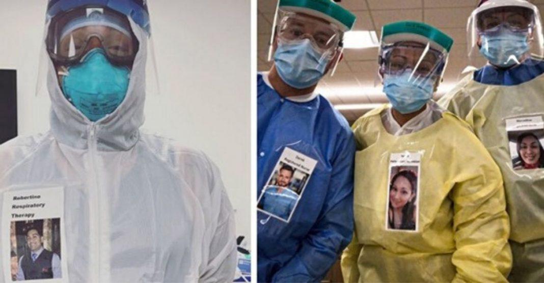 Médicos criam crachás sorrindo para confortar pacientes com Covid-19
