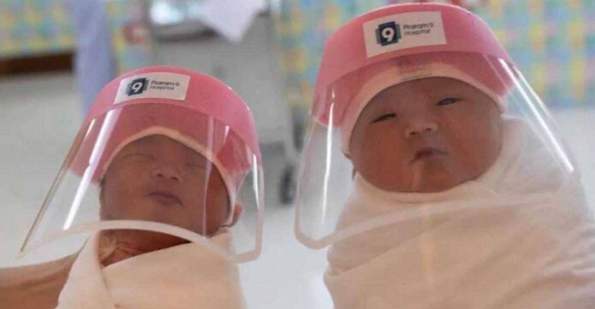 Hospital Tailândia protetor facial proteger bebês recém-nascidos