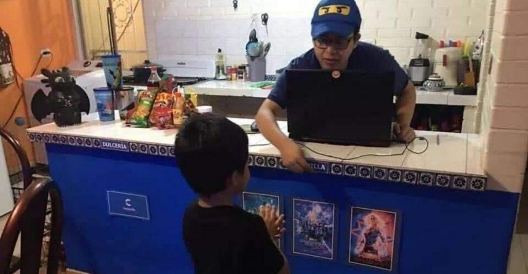 Pais levam cinema para dentro de casa para filho se divertir na quarentena 3