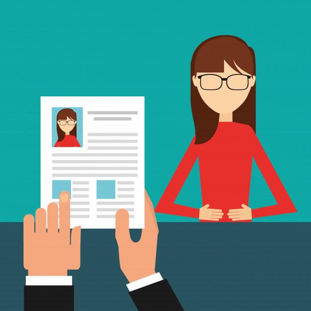 ilustração de uma entrevista de emprego