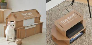 samsung caixas de televisão que viram casinha de gato porta-revistas
