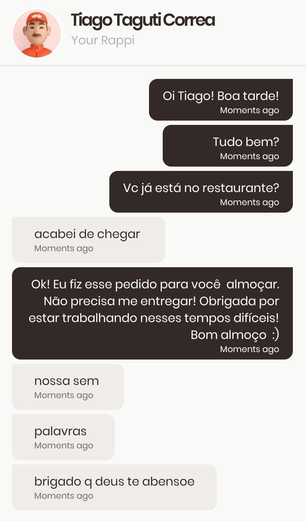 conversa de app de entrega de comida