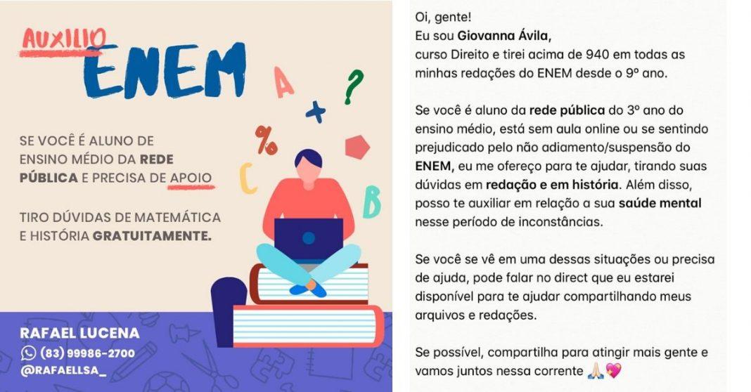 Prints de postagens do Instagram com oferta de auxílio para o ENEM