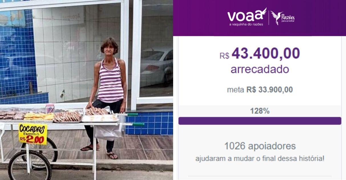 Com ajuda de internautas, idosa que vende cocada volta pra terra natal e comprará sua casa em MG 1