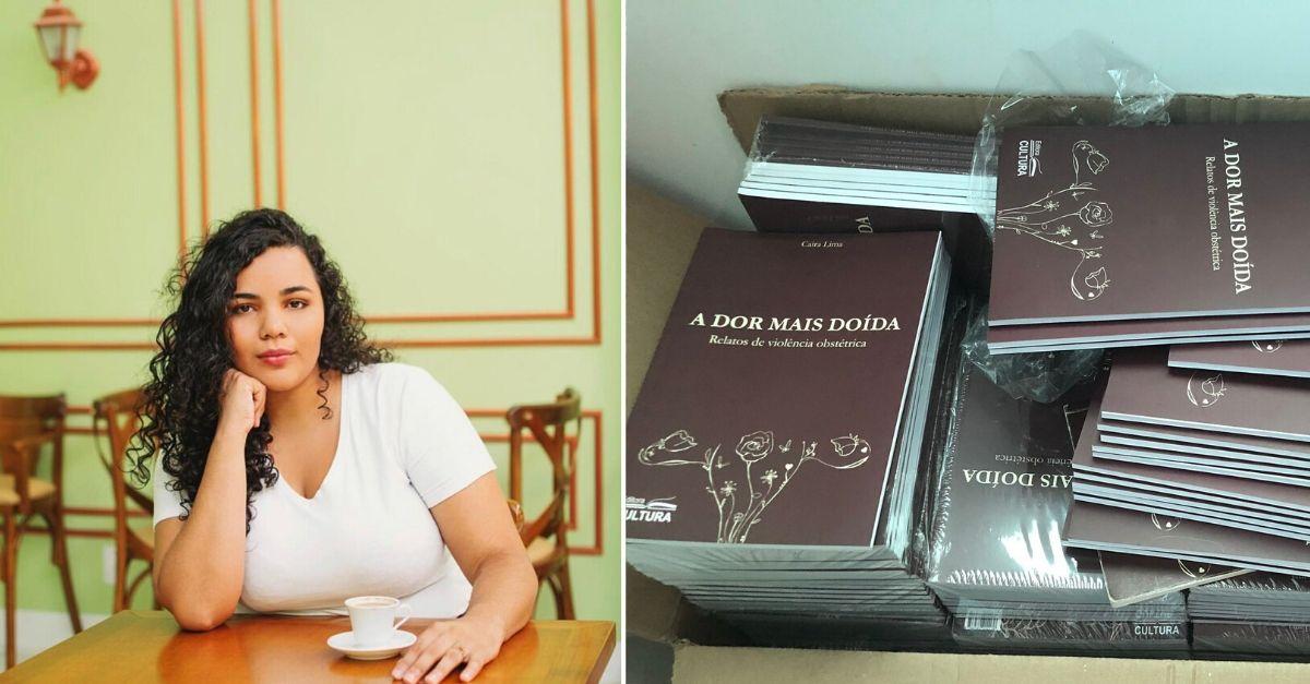 Mulher de blusa branca sentada em mesa e caixa com vários livros