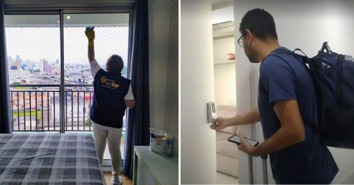 Imagens de mulher limpando hospedagem de profissional de saúde e trabalhador abrindo a porta do apartamento