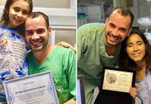 Imagem de médico sorrindo e abraçando pacientes crianças em dois momentos diferentes e mostrando certificados que ganhou delas