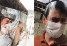 Rapazes usando protetores faciais