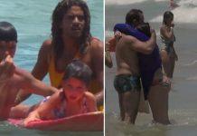 Surfistas resgatando criança em ´rancha no mar e banhista abraçando o pai após ser resgatada