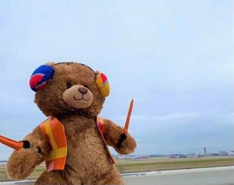 Imagem de ursinho de pelúcia em banco de avião