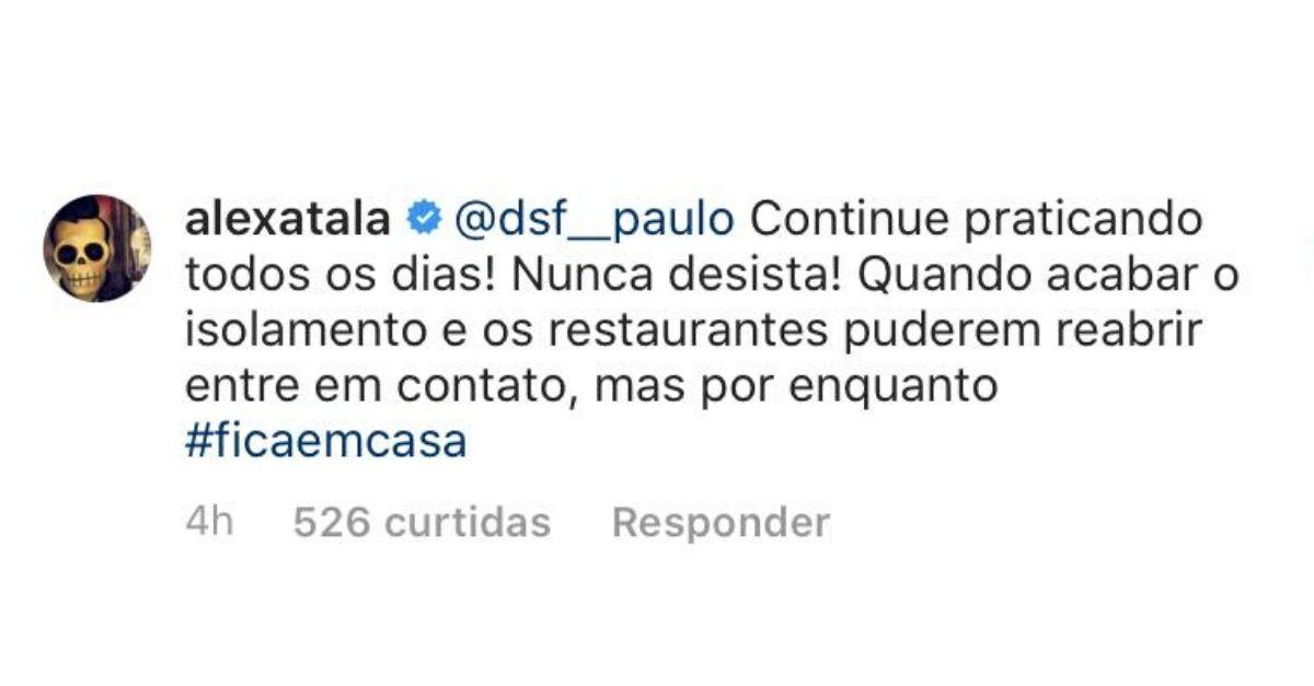 print de comentário do chef Alex Atala